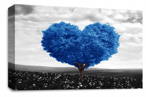 Love Heart Wall Art Picture Floral Tree Blue White Grey Print